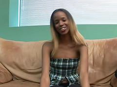 Skinny ebony babe with small tits..