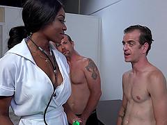 Ebony pornstar has her face coated in..