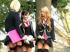 Brash college girls in foursome..