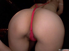 Sexy ass Asian girl gives a blowjob &..