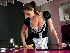Busty French maid sucks his dick and..