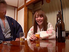Drunk Japanese babe gives a cute..