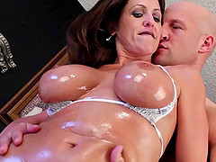 Big oiled milf boobs bounce erotically..