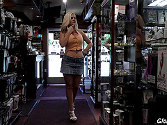Video store slut with massive tits..