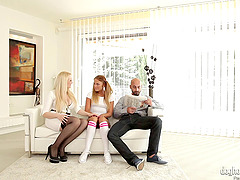 Couple seduces a cute teen in pigtails..