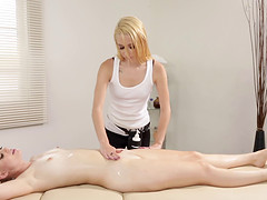 Erotic massage turns into a hot blonde..
