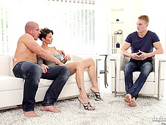 Hot girl gets a pair of guys to go..