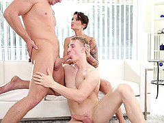 Bisexual threesome where guys fuck..