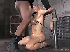 Tied tits girl gags on the cock in her..