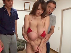 Asian babe with big tits gets toyed..