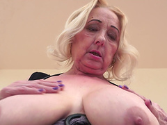 Hot granny with a shaved pussy..