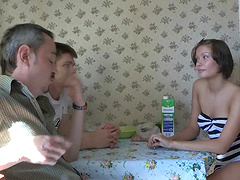 Cuckold man convinces russian curvy..