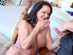 Mature shaved granny enjoys sex with..