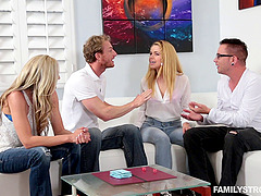 Swinger couples play erotic sex games..