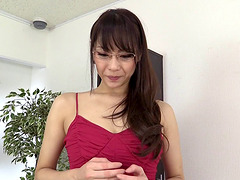 Japanese pornstar in glasses drains a..