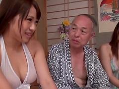 Japanese mature men enjoy feeling up..