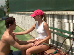 Sporty teen takes a break from her..
