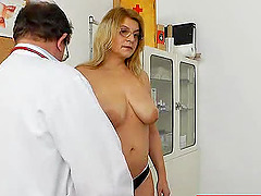 Big tits milf shows off her hairy cunt..