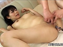 Anal beads up her lubed Japanese asshole