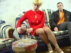 Tenacious blonde swallows a load of..
