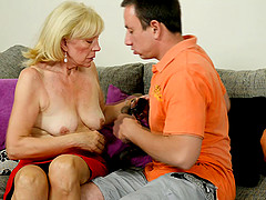 Granny pussy is nice and wet for his..