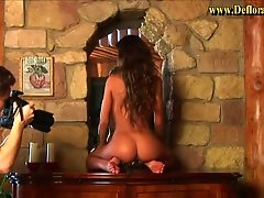 Tight body brunette models nude for a..