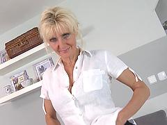 Blonde mature slut with saggy tits..