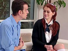 Skinny college redhead enjoys anal sex..