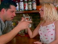 Bartender serves shots of cum on..