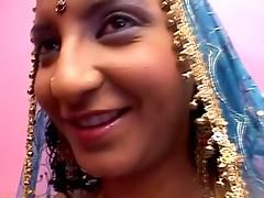 Hornyy Indian cougar enjoys handling a..
