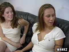 CFNM fun with three girls stroking and..