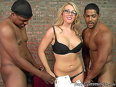 Horny white woman in glasses gets..