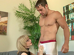 Hot old woman woos him for a fuck