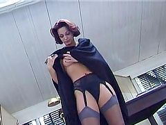 Gorgeous Sylvia in stockings gets wild..