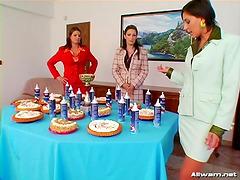 Dessert food fight with three ladies..