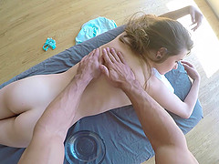 Small tit honey receives a massage and..