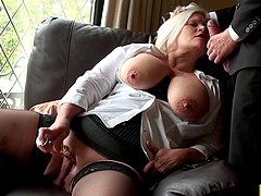 Blonde granny with big boobs being..