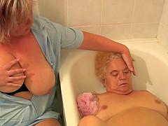 Granny and sexy Nurse is enjoying hot..