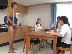 Male submissive licks her Asian pussy..