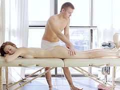 Masseur climbs on the table and fucks..