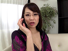 Japanese solo mom masturbating with a..