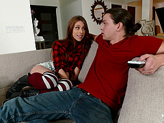 Blonde wife joins her husband and a..