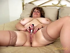 Mature BBW in satin and stockings..