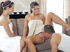 Naughty threesome sex at the spa with..