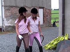 Equestrian hotties sneak into the barn..