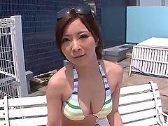 Outdoor blowjob scenes along Ayami..