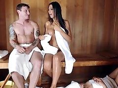 Hot sauna gets mommy to do nasty..