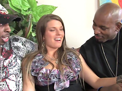 Monalee DP fucked in interracial MMF..