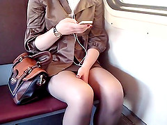 Amateur Girl in the train goes to the..