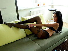 Leggy Italian goddess in sheer..